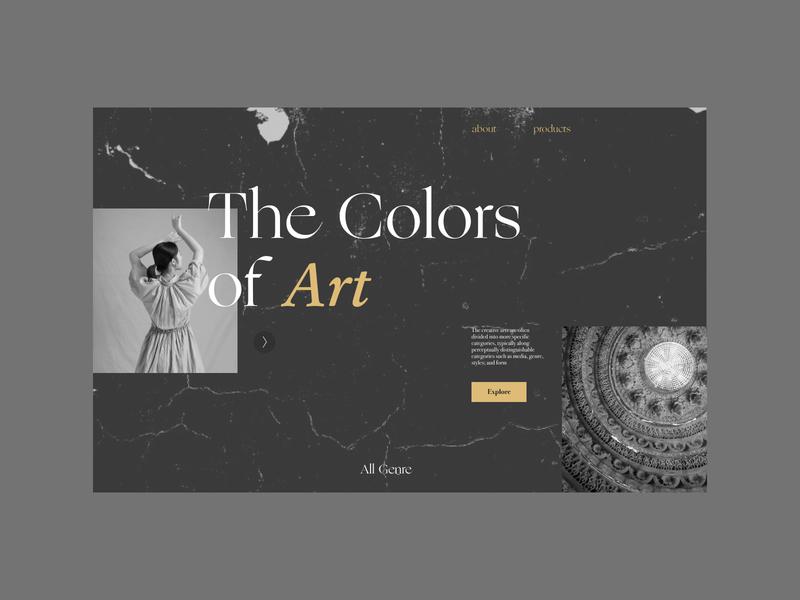 Colors of Art minimal branding typography illustration art graphic design website ux ui design