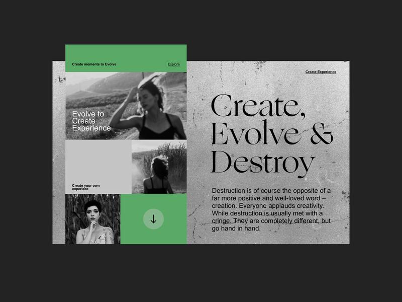 Create, Evolve and Destroy minimal userinterface typography web art flat website ux ui design