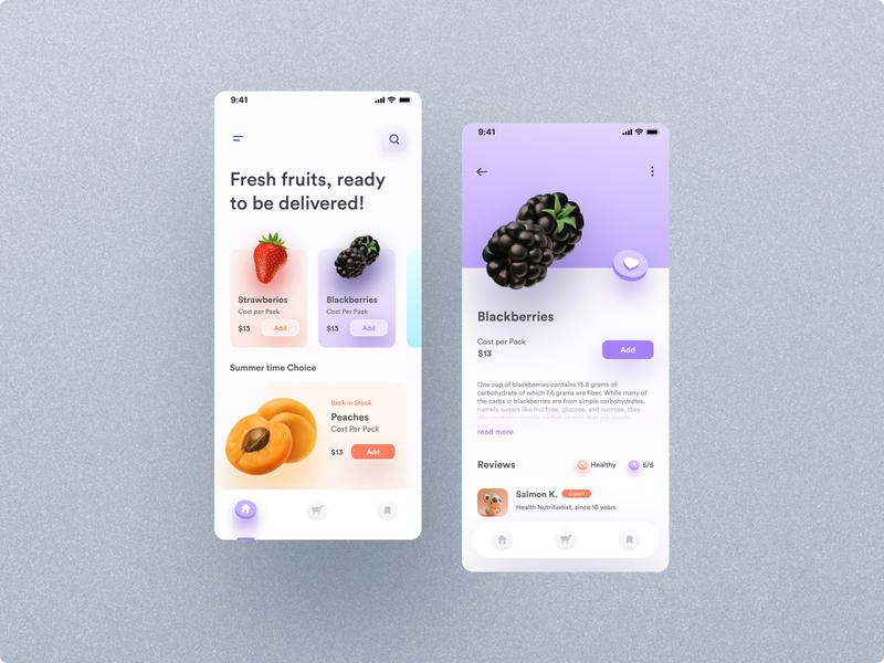 Fruits app design application buy shop fruits fruity illustration graphic design minimal typography branding icon app userinterface website ui design