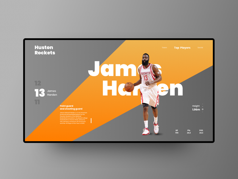 James Harden application website design interaction interactivity flat logo userinterface ux ui