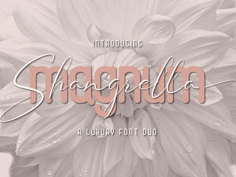 Magnum Shangrella Font Duo stylish classy fashion handwriting typeface handwritten typography luxury font duo script calligraphy serif sans serif font