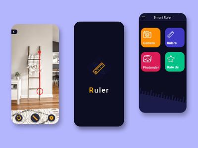 Smart Ruler App UI Design dark ui trendy design mockup logodesign appuiux appuidesign appui modern mobile design mobile mobile app design design uidesign ui mobile ui mobile app app design app