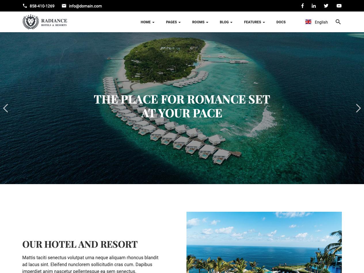 Hotel HTML Template vacation travel tourism spa resort motel lodge inn hotel hostel holiday golf bb apartment accommodation