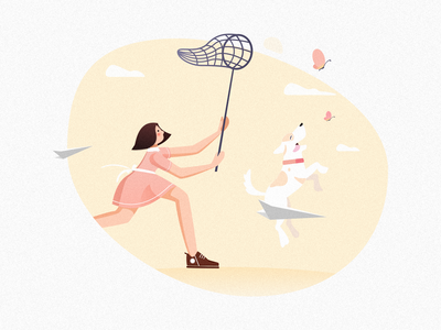 Catch butterflies girl