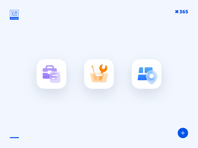 Three Icons logo illustration icon ui design