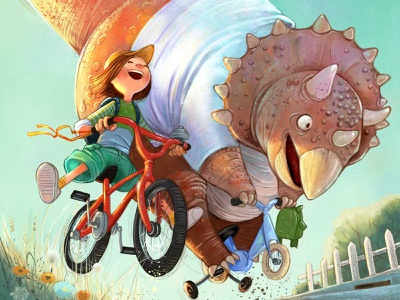 Triceratops on a Tricycle children bike tricycle dinosaurs triceratops children book children art illustration