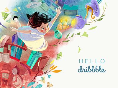 Hello Dribbble! alice aliceinwonderland illustration children book children art children