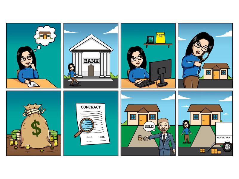 Commission Work bank property comic branding mascot vector illustration design cartoon