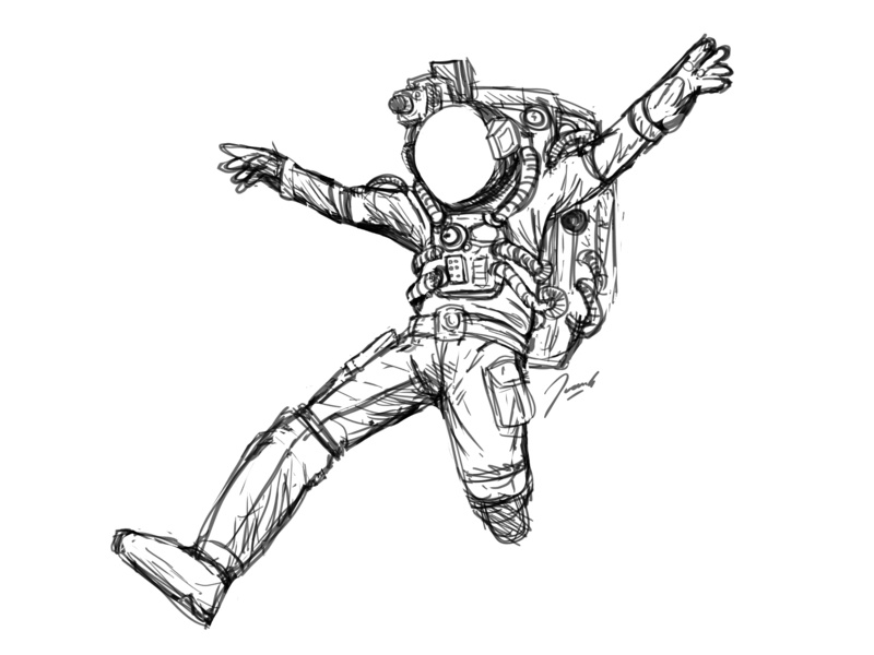Flying Astronaut Sketch black and white wip freedom flying astronaut space digital drawing sketch icon illustration design cartoon