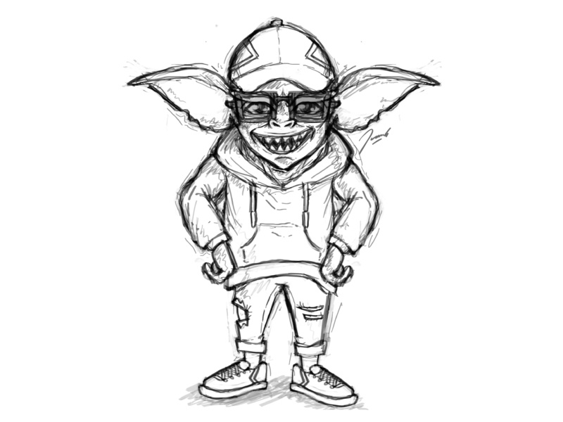 Hipster Gremlin in Progress mode fashion hipster art digital black and white wip branding startup clothing logo photoshop sketch drawing icon mascot illustration cartoon design