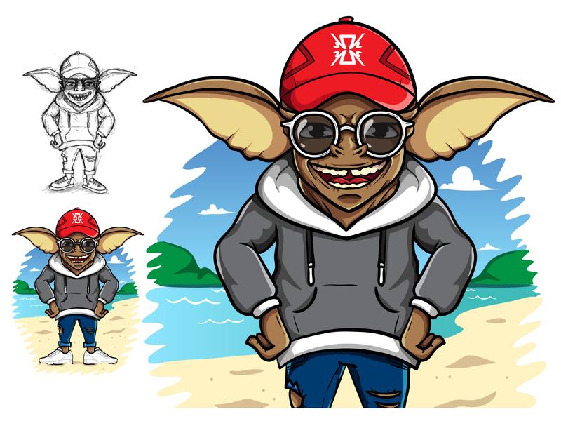 Hipster Gremlin summer beach commission trend fashion art apparel clothing fashion hipster digital cute logo branding drawing icon vector mascot illustration cartoon design
