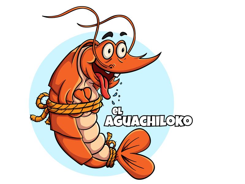El Aguachiloko work commission seafood fantasy shrimp art food culinary crazy digital logo cute branding drawing icon vector mascot illustration cartoon design