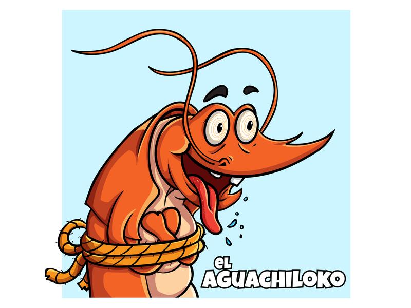 El Aguachiloko - Logo Design (Close Up) business hungry shrimp seafood food culinary commission art digital logo cute branding drawing icon vector mascot illustration cartoon design