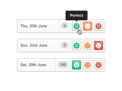 Voting vote voting days buttons ui ux faces clean simple tooltip
