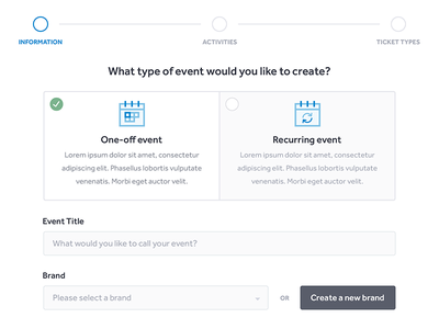 New Event steps select form app web icons events clean ux ui