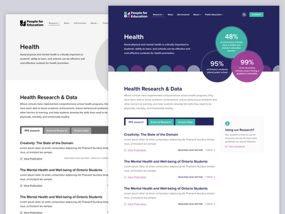 Research Topic website design web clean typography tabs statistics stats articles research ux ui