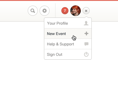 User Dropdown ui clean user menu dropdown red notifications settings search icons