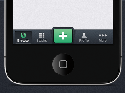 iPhone Nav iphone app ios nav dark green bottom icons