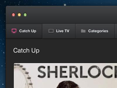 iPlayer Mac App mac app dark ui clean tabs thumbnails icons application redesign iplayer
