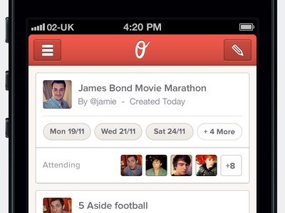 Outingly iPhone ios iphone mobile app ui ux red clean interface