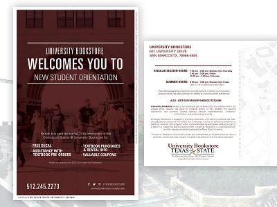 2016 New Student Orientation Postcard - University Bookstore higher ed txstate txst print nso postcard