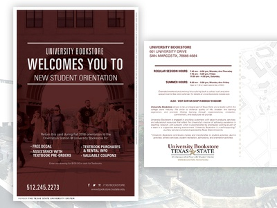 2016 New Student Orientation Postcard - University Bookstore higher ed txstate txst print nso postcard
