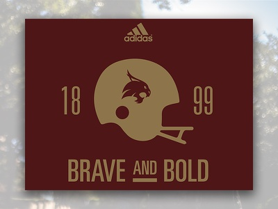 2016 Brave and Bold Bobcats Football TShirt Concept collegiate txstate txst higher ed adidas concept football t-shirt