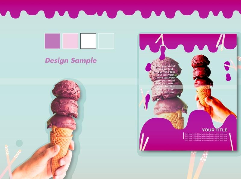 Mockup Ice Cream Flyer vector advertise advertisement advertising advertising design illustation adobe illustrator design mockup template template design template mockup design mockup