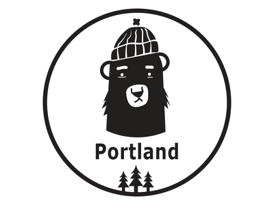 Portland Ode beanie hipster illustration icon logo trees flat fun portland bear black and white negative