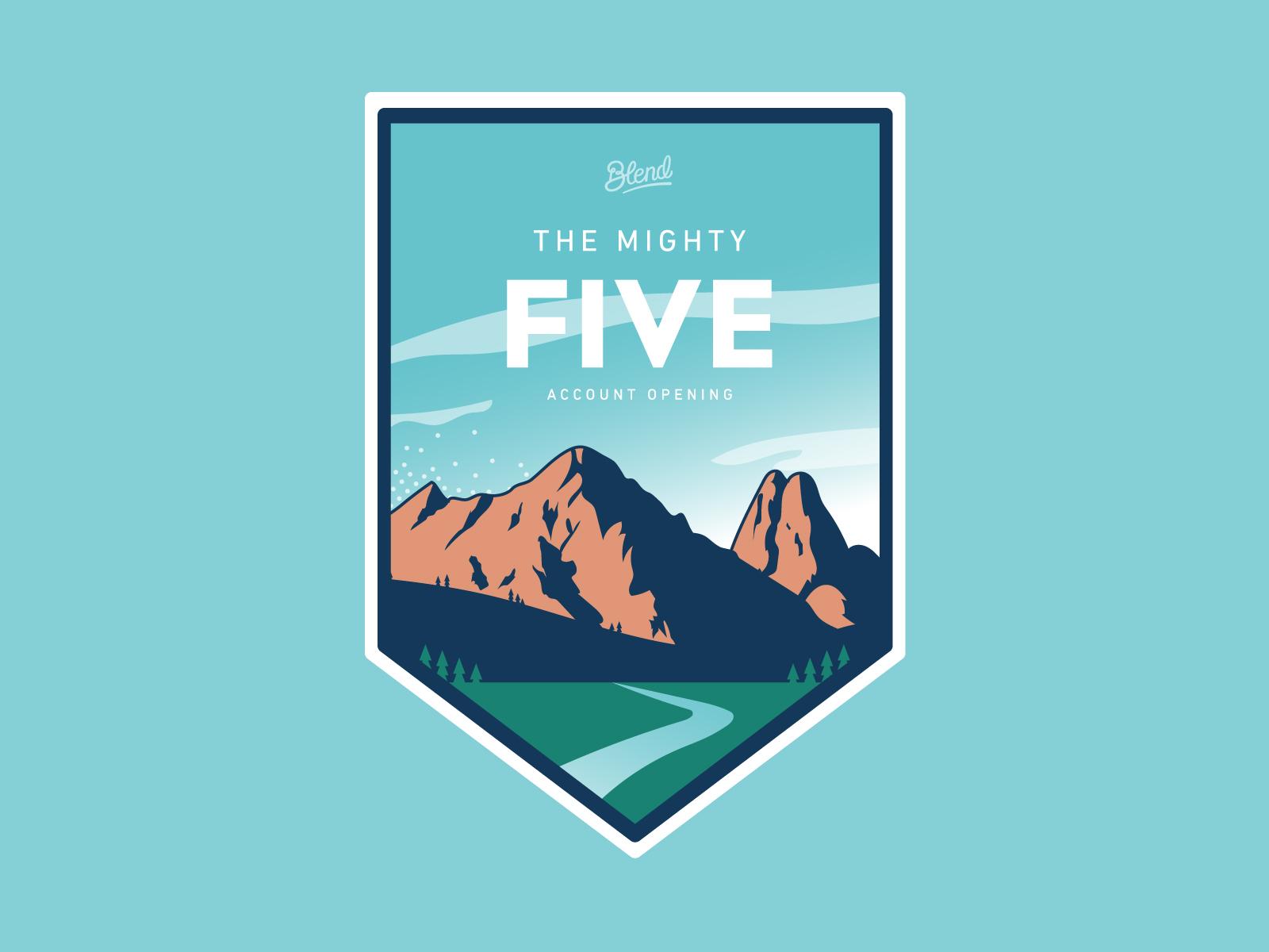 Mighty Five Sticker logo design forest cloud mountain vector typography texture branding gradient badge illustration
