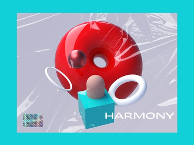 Harmony 3d abstract vector still life render plastic texture gradient typography 3d branding shapes c4d