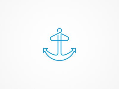 Blue Anchor Logo line lines logo fashion hanger anchor blue