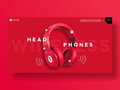 beats landing page UI design app app ui landing page ui landingpage banner design creative app design app ios app uidesign ui  ux uxui ui design ux  ui uiux ux ui headphone beats
