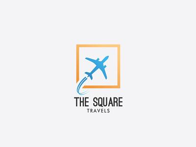 The square Travels Logo Design design vector creative logo mark travels traveling airplane plane logo brand identity brandidentity branding travel agency travel logo travel logodesign logos logo