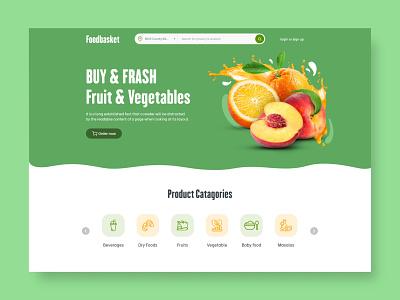 Foodbasket Web UI digital ux ui design food app website design online grocery shop creative vegitable webdesign design uidesign ui  ux uiux ui fruits fruit food