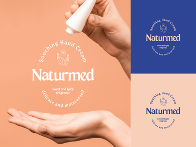 Naturmed - hand cream blue nude woman women radoliński radolinski branding symbol logo beauty natural nature cosmetics logo cosmetics hand cream cream hands hand