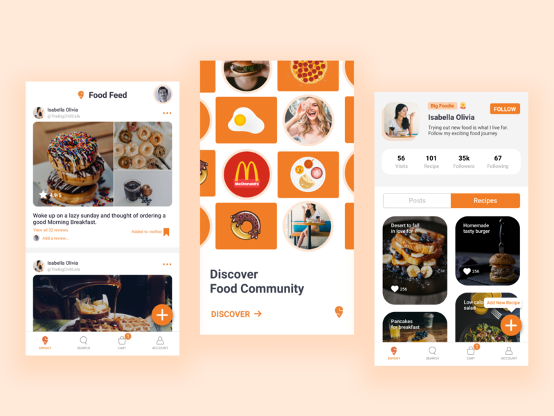 Food Community Concept ui ux uxdesign uidesign illustration graphicdesign dribbble designinspiration app design