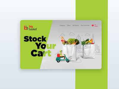 Grocery Concept minimal web uxdesign graphicdesign uidesign typography vector branding illustration landing page