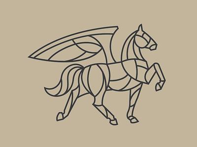 Pegasus pegasus branding logo illustration identity horse mono width icon
