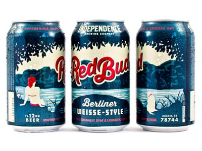 Red Bud illustration cans type packaging beer independence