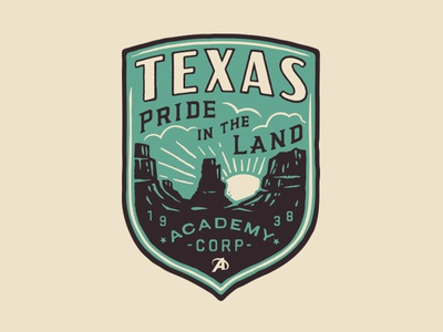 Pride In The Land icon seal mountains desert illustration texas badge
