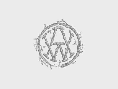 WA Monogram nature illustration logo badge tree icon monogram