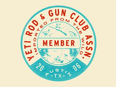 Yeti Rod & Gun club outdoors fishing hunting pin badge illustration