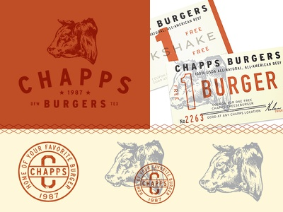 Chapps Burgers stamp badge bull illustration branding icon logo