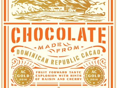 Chocolate flourish mountains chocolate stencil typography packaging
