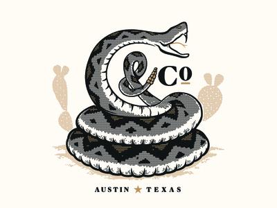 C&Co Rattler cactus halftone snake branding illustration
