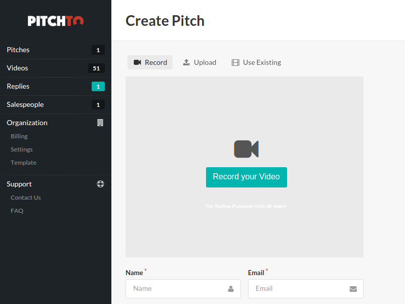 Pitchto admin create pitch th
