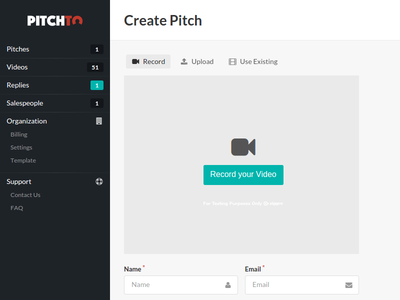Pitch.to - Admin Create Pitch ziggeo meteorjs