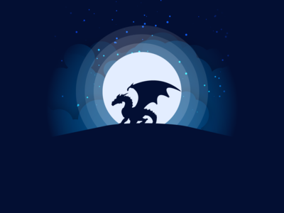 Dragon Silhouette Moonlight