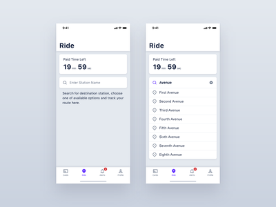 MCU - Ride trip pass ticket travel transportation mobility city subway card underground transport app ios interface design application iphone mobile ux ui
